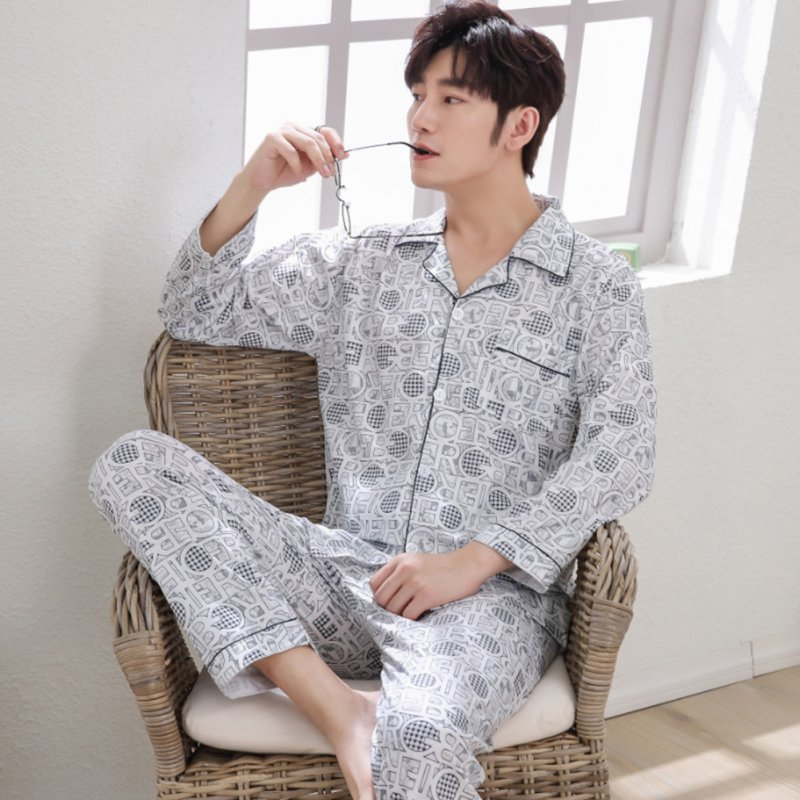 Men Spring and Autumn Cotton Long Sleeve Casual Breathable Home Wear Set Pajamas 8853 blue_XL