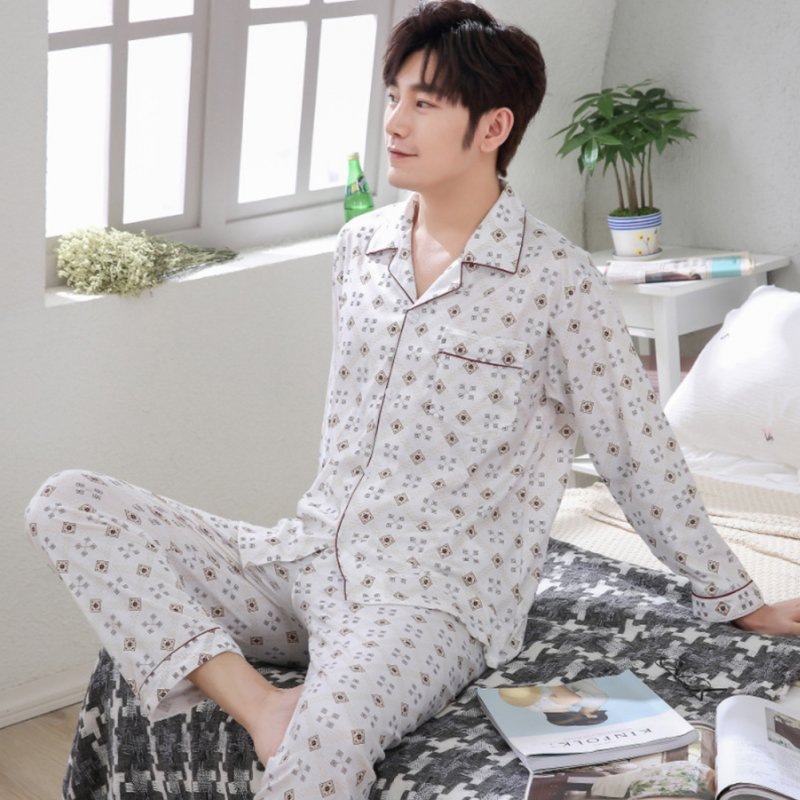 Men Spring and Autumn Cotton Long Sleeve Casual Breathable Home Wear Set Pajamas 8853 red_XL