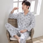 Men Spring and Autumn Cotton Long Sleeve Casual Breathable Home Wear Set Pajamas 8853 blue_XXXL