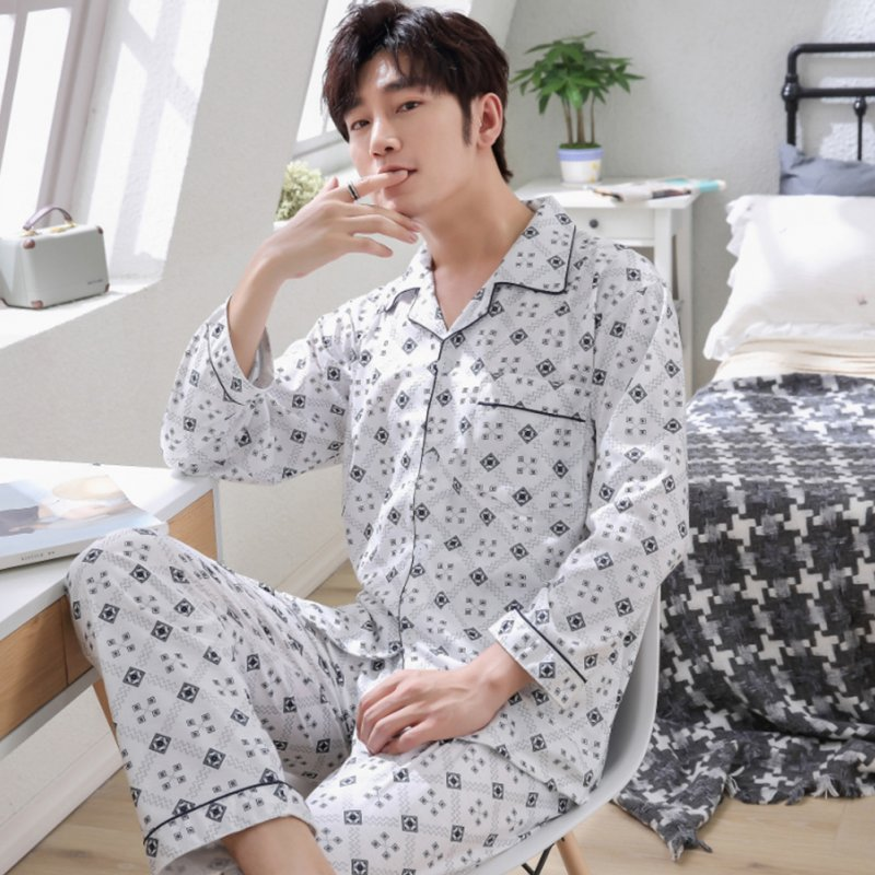 Men Spring and Autumn Cotton Long Sleeve Casual Breathable Home Wear Set Pajamas 8852 blue_XL