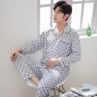 Men Spring and Autumn Cotton Long Sleeve Casual Breathable Home Wear Set Pajamas 8851 blue_XXXL