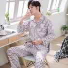 Men Spring and Autumn Cotton Long Sleeve Casual Breathable Home Wear Set Pajamas 8851 red_XXL