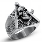 Men Stainless Steel Creative Skull Design Ring Exaggeration Unique Style Retro Finger Ring Christmas Gift