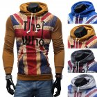Men Streetwear Letter Printed Long Sleeve Men Sweatshirts Hooded Camel_L