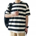 Men Stripe Pattern Half Sleeve Casual Loose T-shirt F17 striped white T-shirt_XL