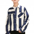 Men Striped Pattern Long Sleeve Loose Casual Shirt blue_XL