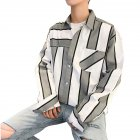 Men Striped Pattern Long Sleeve Loose Casual Shirt grey_XL
