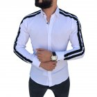 Men Stylish Casual Matching Dress Shirt Slim Fit T-Shirt Long Sleeve Formal Tops white_M