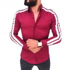 Men Stylish Casual Matching Dress Shirt Slim Fit T-Shirt Long Sleeve Formal Tops red_L