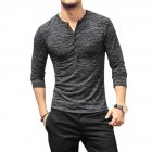 Men Stylish Long-Sleeve Slim T-Shirt Simple Solid Color Button Tops Base Shirt gray_XXL