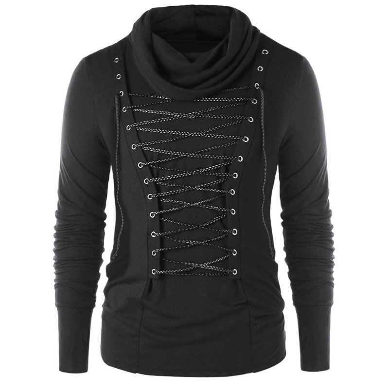 Men Stylish Slim Thermal High Collar Long Sleeve Knitwear Braided Rope Decoration Sweater Tops Stretch Shirt black_XXL