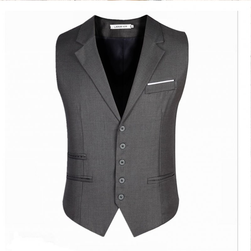 Men Stylish Suit Collar Slim Sleeveless Waistcoat gray_XL