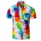 Men Stylish Unique Pigment Printing Shirt - L