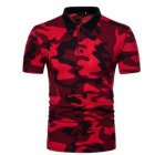 Men Summer Camouflage Color Slim Short Sleeve Lapel Shirt Top red_L