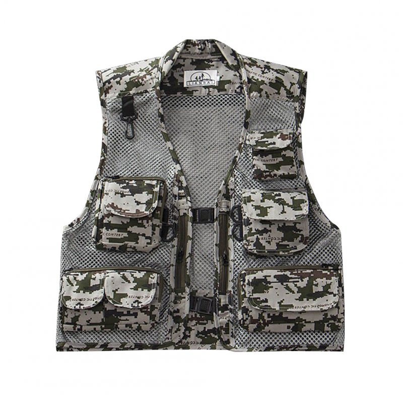 Men Summer Casual Camo Vest Multi-pocket Breathable Mesh Hiking Hunting Vest Professional Photography Jacket Grey Camo_XXL