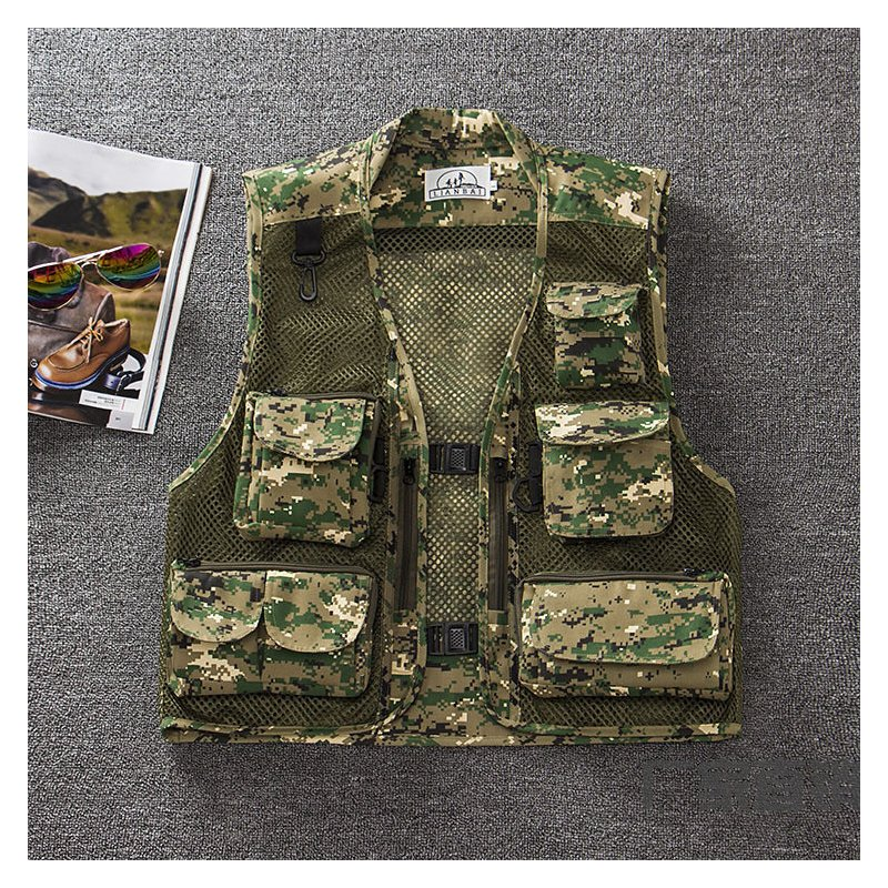 Men Summer Casual Camo Vest Multi-pocket Breathable Mesh Hiking Hunting Vest Professional Photography Jacket Green Camo_XXXL