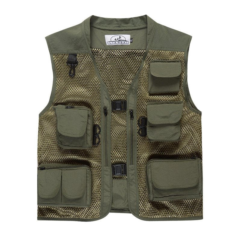 Men Summer Casual Camo Vest Multi-pocket Breathable Mesh Hiking Hunting Vest Professional Photography Jacket Army Green_XL