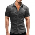 Men Summer Casual Denim Short Sleeves Front Buttons Shirt light grey_XL