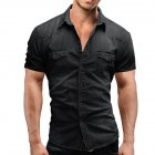 Men Summer Casual Denim Short Sleeves Front Buttons Shirt Dark gray_XL