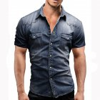 Men Summer Casual Denim Short Sleeves Front Buttons Shirt Dark blue_L