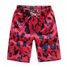 Men Summer Casual Drawstring Seaside Surfing Printing Quick Dry Shorts Red male_L