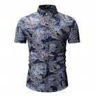 Men Summer Casual Loose Short Sleeve Hawaii Beach Shirt for Travel Wear blue_M