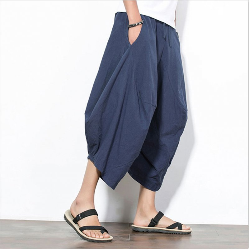 Men Summer Casual Solid Color Loose Beach Pants Cotton Linen Harem Pants Blue_XXXL