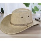 Men Summer Cool Western Cowboy Hat Outdoor Wide Brim Hat   Beige