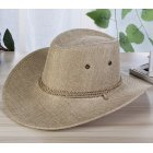 Men Summer Cool Western Cowboy Hat Outdoor Wide Brim Hat   cream-coloured