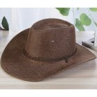 Men Summer Cool Western Cowboy Hat Outdoor Wide Brim Hat   coffee