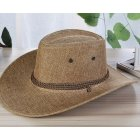 Men Summer Cool Western Cowboy Hat Outdoor Wide Brim Hat   Khaki