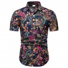 Men Summer Fashion Shirts Short Sleeve Pattern Printing Slim Tops Color_L