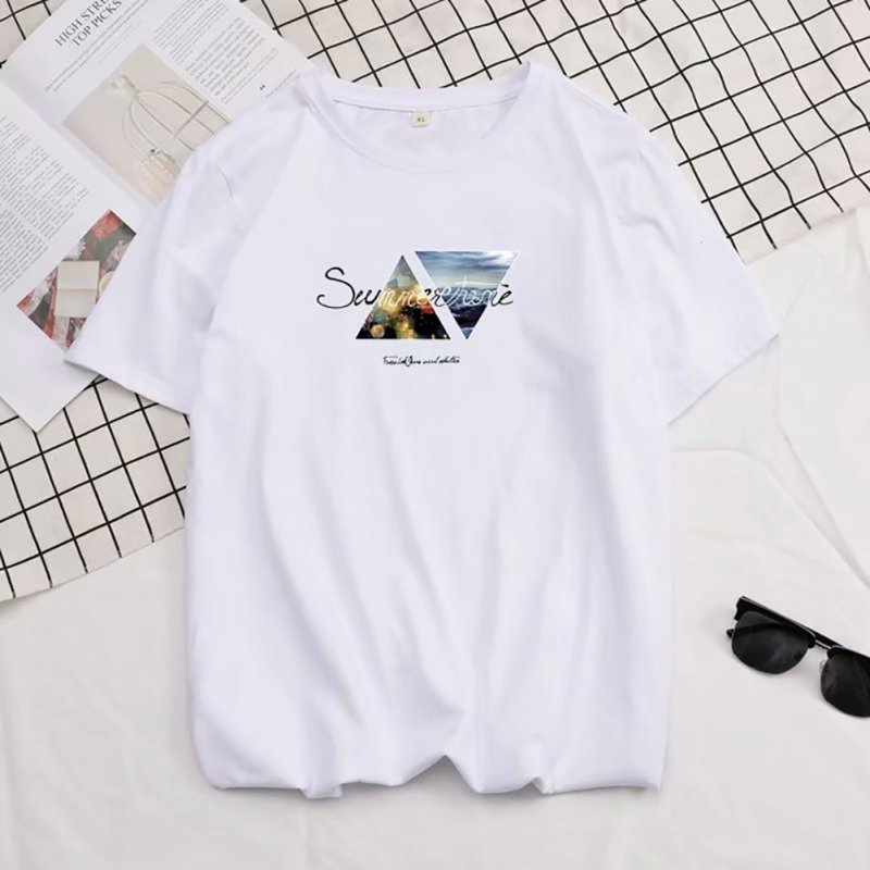 Men Summer Fashion Short-sleeved T-shirt Round Neckline Loose Printed Cotton Bottoming Top 2XL_614 white