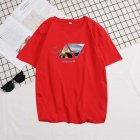 Men Summer Fashion Short-sleeved T-shirt Round Neckline Loose Printed Cotton Bottoming Top XL_614 red
