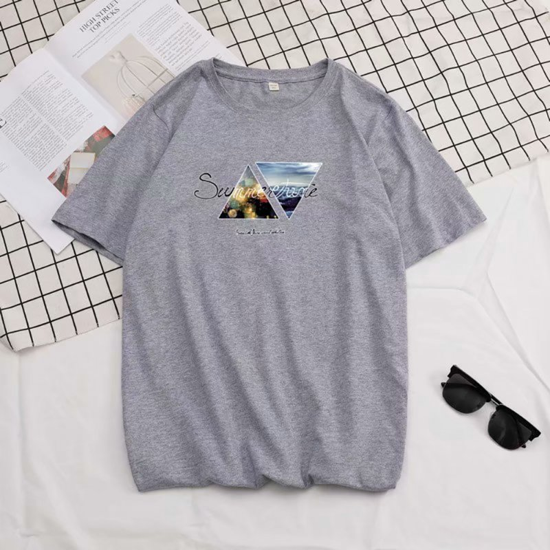 Men Summer Fashion Short-sleeved T-shirt Round Neckline Loose Printed Cotton Bottoming Top L_614 gray