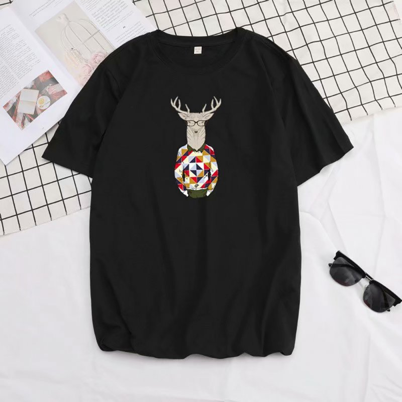 Men Summer Fashion Short-sleeved T-shirt Round Neckline Loose Printed Cotton Bottoming Top 632 black_L
