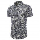 Men Summer Fashion Short Sleeve Large Size Printed Casual Shirt  TC08_3XL