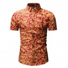 Men Summer Hawaii Digital Printing Short Sleeve T-shirt red_M