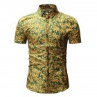 Men Summer Hawaii Digital Printing Short Sleeve T-shirt green_XL