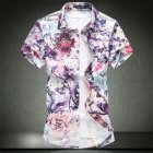 Men Summer Leisure Floral Elastic Cotton Short-sleeved Shirt red_2XL