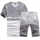 Men Summer Loose Round Neck Casual Short sleeved T shirt Sports Suit Outfit light grey 5XL