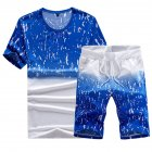Men Summer Loose Round Neck Casual Short-sleeved T-shirt Sports Suit Outfit blue_L