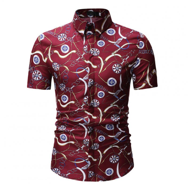 Men Summer New Casual Short Sleeve Flower Cotton Loose Shirt Tops red_L