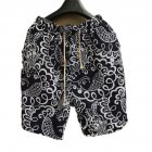 Men Summer Print Hawaii Loose Drawstring Short Pants Casual Beach Shorts   E _L
