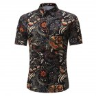 Men Summer Printing Shirts Standing Collar Short Sleeve Casual Shirts  black 2XL