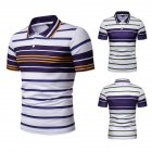 Men Summer Shirts Color Matching Stripes Lapel Collar Slim Tops  yellow_M