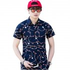 Men Summer Short Sleeve Vivid Color Printed Casual Shirt  DC07_M