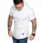 Men Summer Simple Solid Color Hooded Breathable Sports T shirt white M