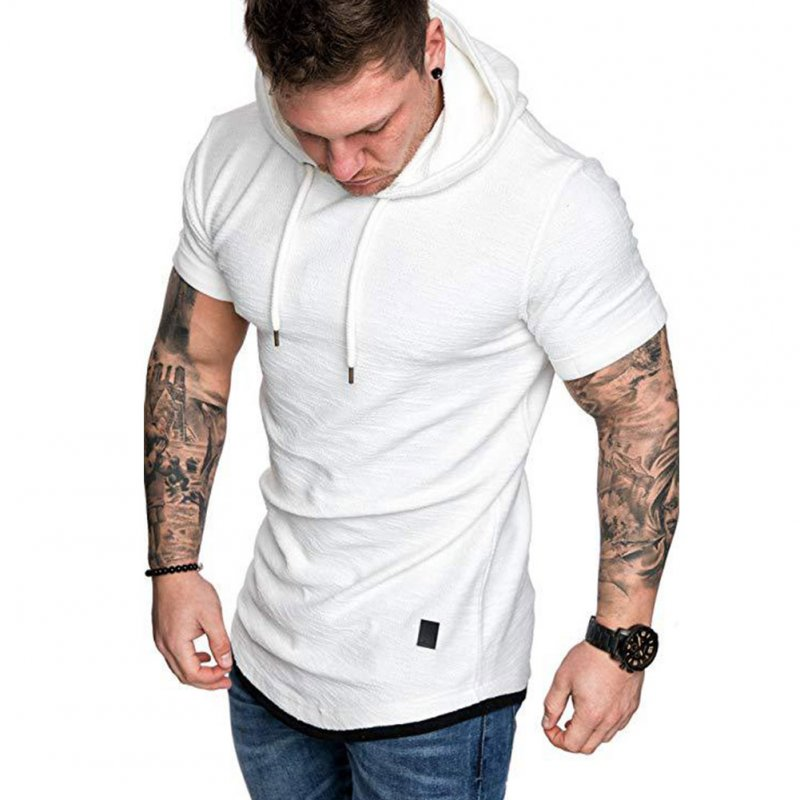 Men Summer Simple Solid Color Hooded Breathable Sports T-shirt white_M