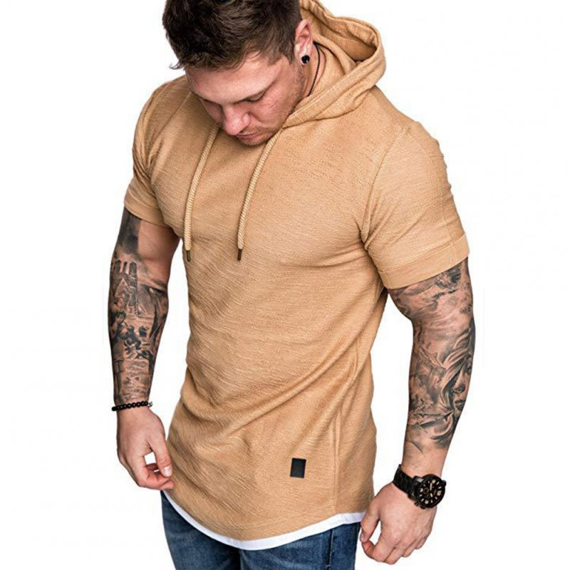 Men Summer Simple Solid Color Hooded Breathable Sports T-shirt Khaki_M